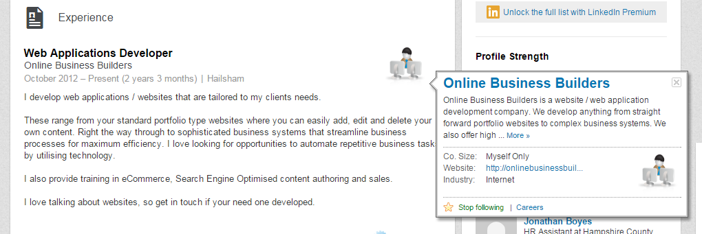 LinkedIn employee profile, with popup for the company including a link to the company website.