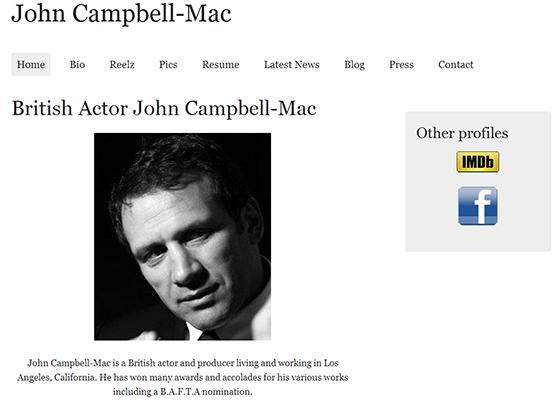Drupal website - Drupal Website - A Portfolio and Blog for British Actor John Campbell-Mac