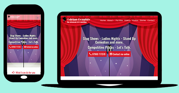 Drupal 7 mobile responsive web design - UK Comedian - Promotional site