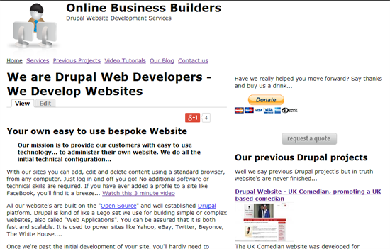 Unthemed drupal website